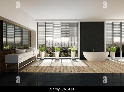 ... Geräumiges Badezimmer Mit Stilvollem Dekor, Einem Hellen Holzmöbeln,  Großen Doppel Waschtisch, Ovale