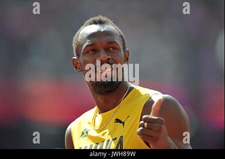 London, Großbritannien. 12 Aug, 2017. Usain Bolt (JAM) in der mens 4 x 100 m Staffel. IAAF Leichtathletik WM. London - Stockfoto
