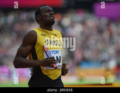 London, Großbritannien. 12 Aug, 2017. Usain Bolt bei der 4 mal 100 Meter Relais Wärme in London 2017 IAAF Weltmeisterschaften - Stockfoto