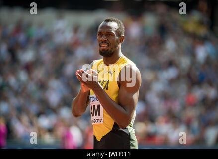 London, Großbritannien. 12 Aug, 2017. Usain Bolt aus Jamaika vor seinem 4x100 Meter Hitze während der IAAF Leichtathletik - Stockfoto