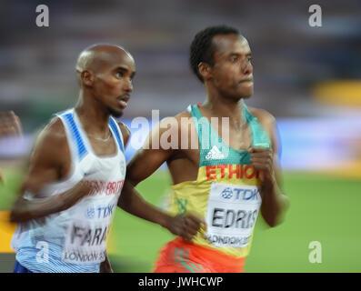 London, Großbritannien. 12 Aug, 2017. Mohamed Farah von Großbritannien, konkurrieren in der 5000m-Finale in London - Stockfoto