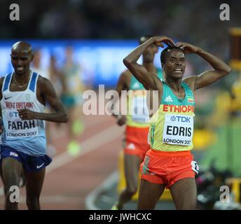 London, Großbritannien. 12 Aug, 2017. Muktar Edris gewinnt 5000m Abschließenden 5000 Meter Final Leichtathletik - Stockfoto