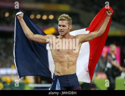 London, Großbritannien. 12 Aug, 2017. Französische Levin Mayer stellt nach dem Gewinn der Goldmedaille im Zehnkampf - Stockfoto