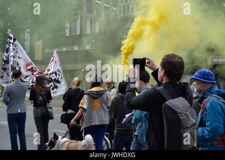 East London, UK. 12 Aug, 2017. Dutzende von Menschen protestieren in London gegen den Abriss von Rat fincas East - Stockfoto