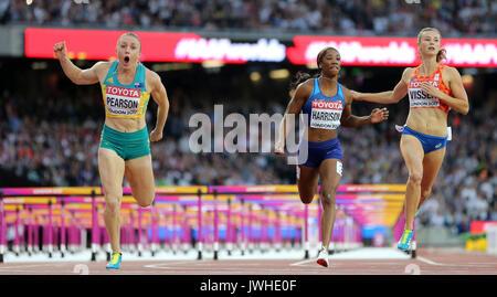 London, Großbritannien. 12 Aug, 2017. Australische Sally Pearson (L) gewinnt die Goldmedaille bei den 100 m Hürden - Stockfoto