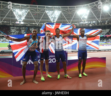 London, Großbritannien. 12 Aug, 2017. Nathanael Mitchell Blake, Daniel Talbot, Adam & Gemili Chijindu Ujah 4 X 100 - Stockfoto