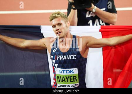 London, Großbritannien. 12 Aug, 2017. Kevin Mayer, Frankreich, feiert das Gewinnen der decathlon am Tag neun der - Stockfoto