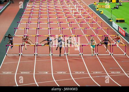 London, Großbritannien. 12 Aug, 2017. 100m Hürden der Frauen am Tag neun der IAAF London 2017 Weltmeisterschaften - Stockfoto