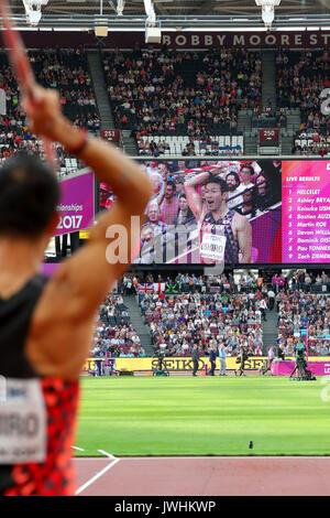 London, Großbritannien. 12 Aug, 2017. Keisuke Ushiro, Japan, decathlon Speerwerfen der Männer am Tag neun der IAAF - Stockfoto