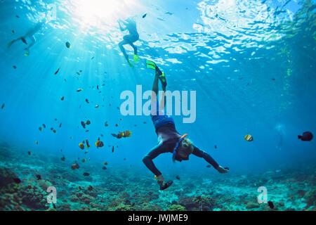 Happy Family Urlaub. Mann in Schnorcheln Maske mit Kamera Tauchen Unterwasser mit tropischen Fische im Korallenriff - Stockfoto