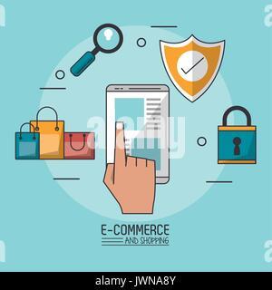 Buntes Plakat in blauen Hintergrund des e-commerce und Shopping mit Smartphone in Nahaufnahme und Kaufprozess Symbole - Stockfoto