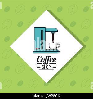 Buntes Plakat der Coffee Shop mit Kaffeemaschine in weißen Rhombus und grüner Hintergrund - Stockfoto