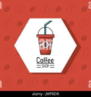 Buntes Plakat der Coffee Shop mit Einweg Kaffeetasse in rhombus Frame - Stockfoto