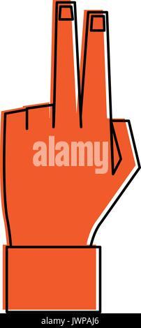 Hand mit zwei Fingern nach oben icon image - Stockfoto