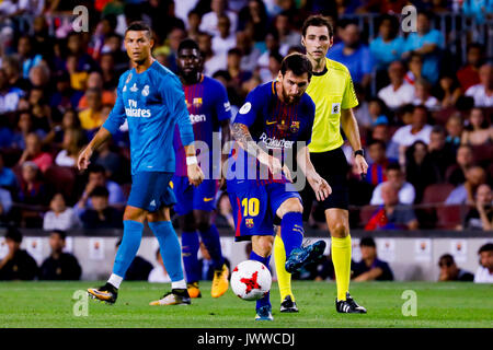 Camp nicht Stadion, Barcelona, Spanien. 13 August, 2017. Messi während des Spiels der ersten Etappe der Super Cup - Stockfoto