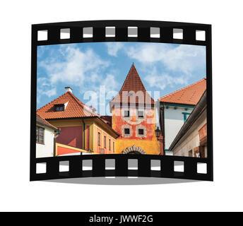 Der Budejovicka aus Tor war von 1598 bis 1602 gebaut. Es ist eine Stadt Tor noch erhalten heute in Cesky Krumlov, - Stockfoto