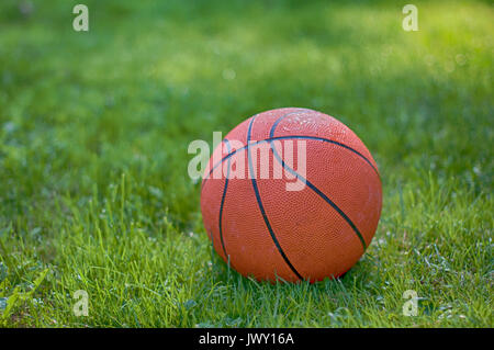 Ein Basketball auf Gras. Eine Nahaufnahme - Stockfoto