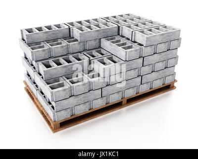 Stapel von grauen Bau Steine stehen auf Holzsockel. 3D-Darstellung. - Stockfoto