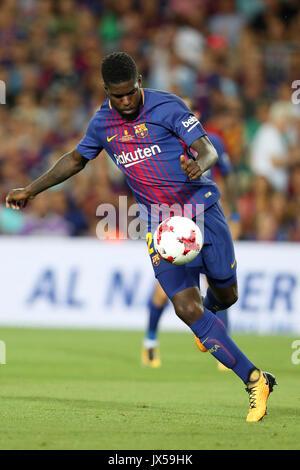 Barcelona, Spanien. 13 Aug, 2017. SAMUEL UMTITI des FC Barcelona während der spanischen Super Cup Fußballspiel zwischen - Stockfoto