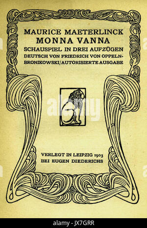 Monna Vanna Maeterlinck Titelseite 1903, 01. - Stockfoto