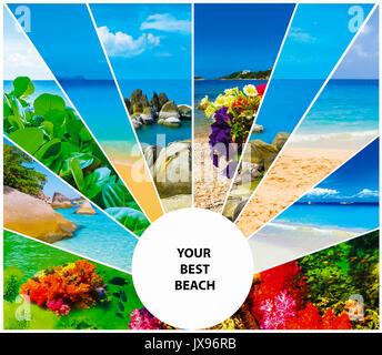 Collage von Sommer Strand Bilder - Natur und Reisen Hintergrund - Stockfoto