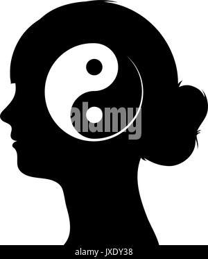 Schwarze und weiße Vector Illustration mit einem Profil Silhouette einer Weiblicher Kopf mit einem chinesischen - Stockfoto