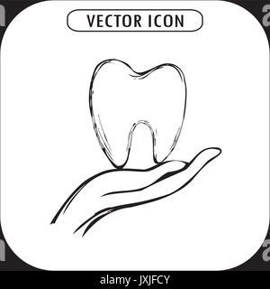 Zahn auf der Hand, Symbol Hand gezeichnet, Vektor - Stockfoto