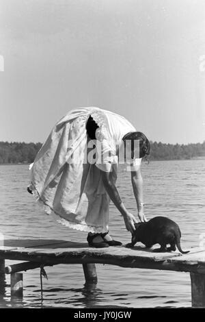 Frau bücken Angst Hund auf Pier zu helfen. - Stockfoto