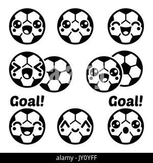 Kawaii Fußball, Fußball Icons Set Vector Icons Set von Süß, gerne Fußball Charakter isoliert auf weißem - Stockfoto