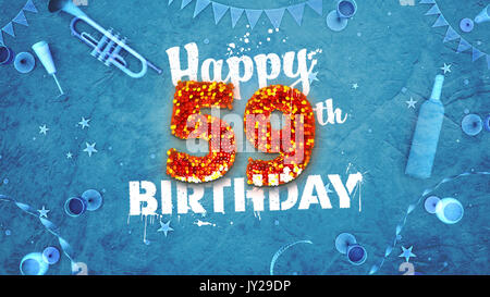 Happy 59th Birthday Card Mit Schonen Details Wie Flasche Wein Champagner Glaser Garland