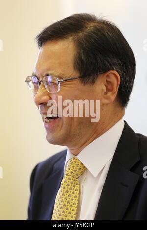 Moskau, Russland. 18 Aug, 2017. Südkoreas Botschafter in Russland Park Ro-byug bei einem Treffen mit russischen - Stockfoto