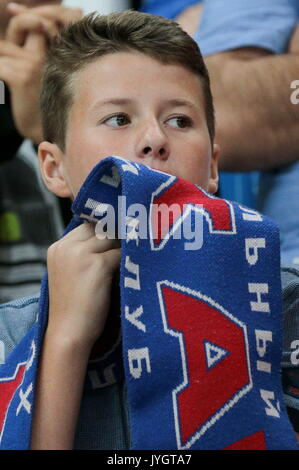 Moskau, Russland. 18 Aug, 2017. CSKA Moskau Ventilator in der Moskauer Bürgermeister Eishockey Cup Match gegen Dynamo - Stockfoto