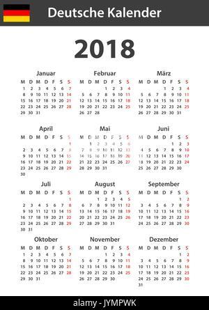 deutscher kalender f r 2018 scheduler agenda oder. Black Bedroom Furniture Sets. Home Design Ideas