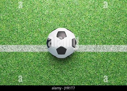 Fußball-Ball auf grünem Gras, Render 3D-Darstellung - Stockfoto