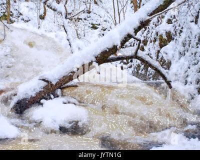 Aquarellfarbe Wirkung. Gefrorenen Wasserfall Der Wasserfall, vereisten Zweige und eisigen Felsbrocken in gefrorenem - Stockfoto
