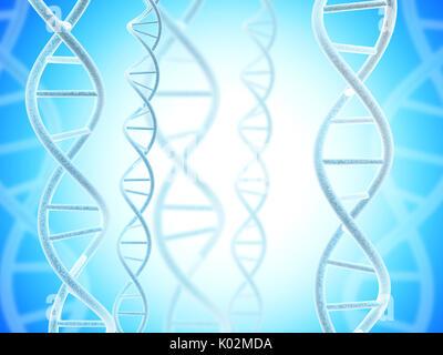 Digitale Modelle der DNA-Struktur auf abstrakte blauen Hintergrund. 3D render - Stockfoto