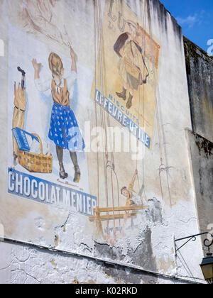 Historische Werbung in Moissac, Frankreich - Stockfoto