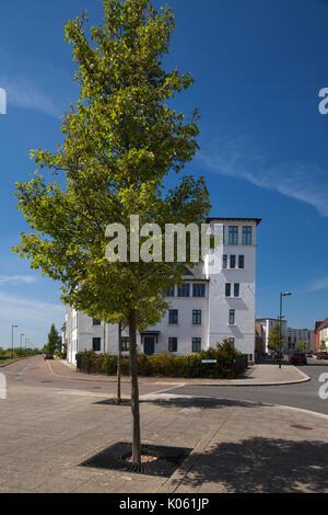 Die sehr abwechslungsreichen architektonischen Stile von Häusern und Wohnungen, die ein Teil der Eco-design Entwicklung - Stockfoto