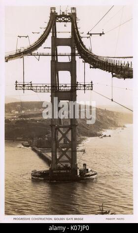 Bau der Golden Gate Bridge, San Francisco, Kalifornien, USA, durch die Pacific Bridge Company. Die Designer waren - Stockfoto
