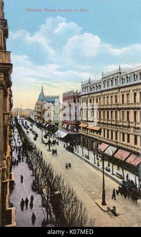 Buenos Aires, Argentinien - Avenida de Mayo Datum: ca. 1910 s - Stockfoto