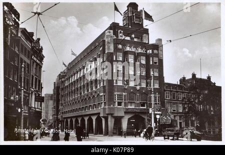 Das Carlton Hotel und Restaurant, Amsterdam, Niederlande. Datum: ca. 1930 - Stockfoto