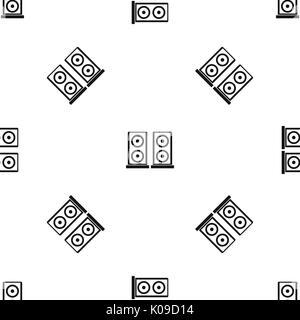 Musik Lautsprecher Muster nahtlose Schwarz - Stockfoto
