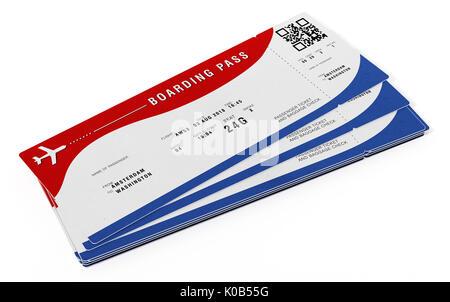 Bordkarte mit fiktiven Zahlen und Namen. 3D-Darstellung. - Stockfoto