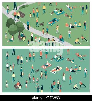 Menschen, die sich in der Stadt städtischer Park und entspannen in der Natur zusammen, Gemeinschaft und Lifestyle - Stockfoto