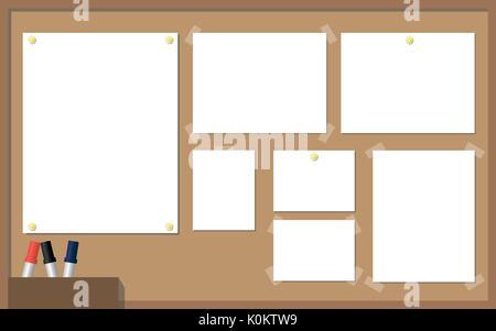 Office cork Platine mit weißem Papier, Gelb, Stifte, Stifte und Klebeband an der Ecke von Papier. Vector Illustration. - Stockfoto