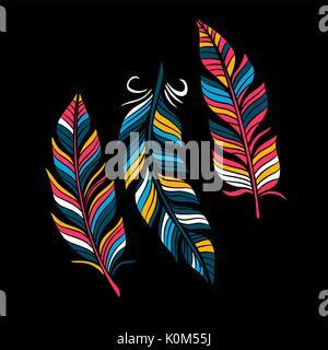 Farbige Federn in einem flachen Stil. Auf einem schwarzen Hintergrund. - Stockfoto