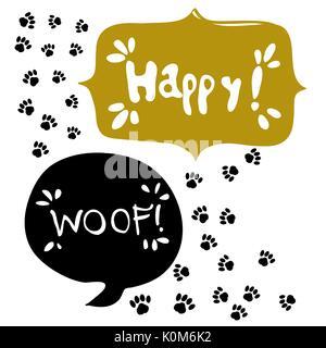 Nahtlose lustig vector Pattern mit Pfote Hunde, auf weißem Hintergrund im Comic-Stil - Stockfoto