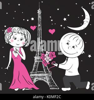 Mann gibt einer Frau Blumen in Paris, Vektor - Stockfoto