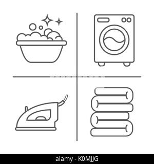 Waschen, Bügeln, saubere Wäsche Zeile für Symbole. Waschmaschine, Bügeleisen, Handwäsche und andere clining Symbol. - Stockfoto
