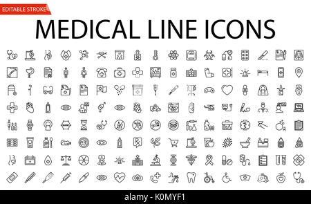 Medizinische Vector Icons einstellen. Zeile für Symbole, Zeichen und Symbole in flachen Lineare Design Medizin und - Stockfoto